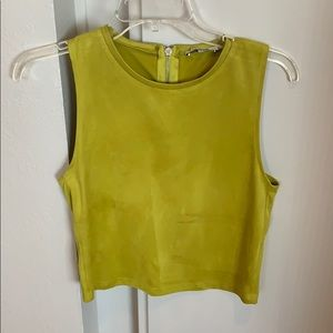 Zara Faux Suede Green Top